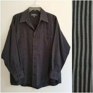 Kenneth Cole Reaction Black Gray Striped Shirt XL
